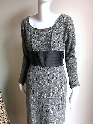 1950s Grey Wool Snowstorm Tweed Designer Dress Vintage Phyllis de Trano sz 4 6
