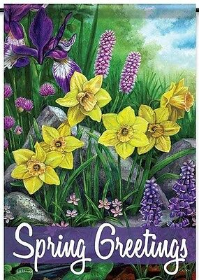 """Spring Greetings Decorative House Flag - 28"""" x 40"""""""