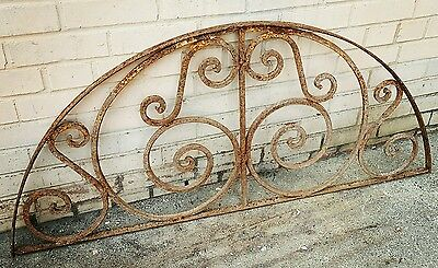 Antique Cast Wrought Iron Arched 1/2 moon Window Guard Panel