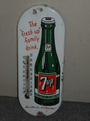 """The Fresh Up Family Drink Seven Up 7UP Porcelain 15"""" Thermometer Sign Canada POP"""