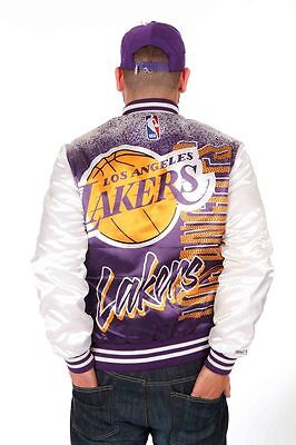 Vintage L A Lakers satin bomber harrington jacket size M Harwood Classics