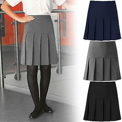 New Girls Womens All Round Pleated  School Skirt With Side Zip Uk Sizes 8-20