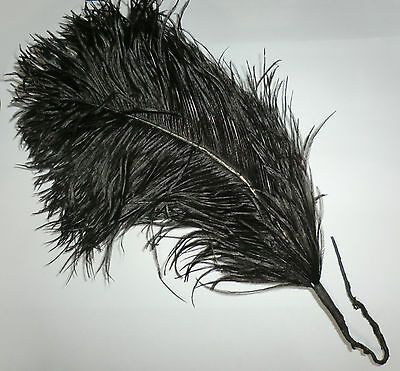 Vintage European Victorian Mourning Trim Black Ostrich Plume Feather Beautiful 0