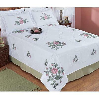 """NIP Herrschners 'Rose Medley' Queen Bed Quilt Stamped for Cross Stitch 100""""X100"""""""