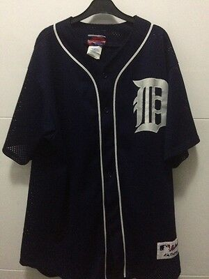 Majestic Detroit Tigers  MLB Baseball Replica Jersey Shirt Blue Medium 90's