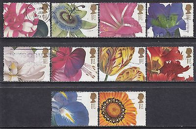 1997 GB Greetings Flowers SG 1955-1964 Set Of 10 Used Commemorative Stamps