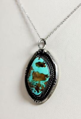 """Native American Sterling Silver Turquoise Cabochon Pendant 1.25"""" – 10751"""
