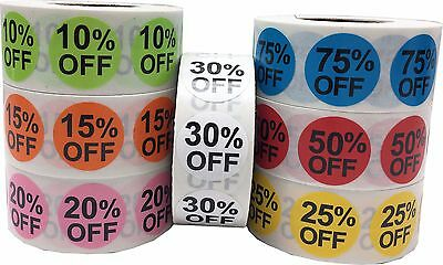 Percent % Off Retail Stickers, 3/4 Inch Round Labels, 500 Total, 10 thru 75% Off