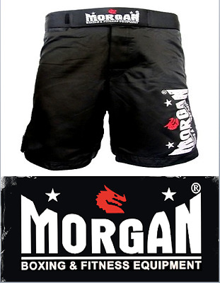 Morgan Mma Shorts Gym Fitness Mens Black Pair Crossfit Medium Large M L Training