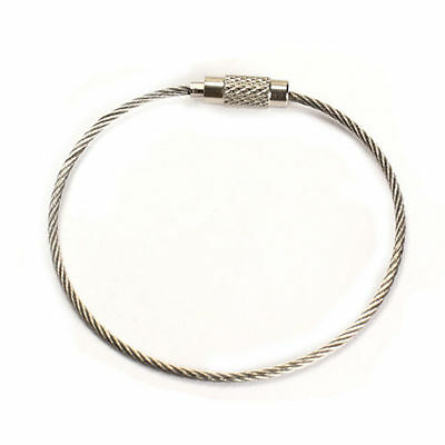 Stainless Steel Aircraft Cable Wire Key Chain Ring Twist Screw Locking