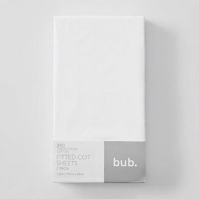NEW 2 Pack Fitted Cot Sheets - White