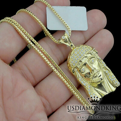 10k Yellow Gold Over Sterling Silver Jesus Cross Charm Pendant Necklace Chain