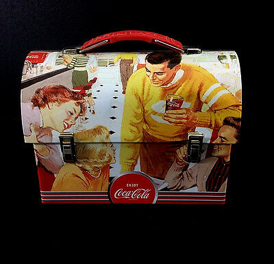Coca-Cola Small Metal Dome Lunchbox Coke Advertising Mighty Refreshing Bottles