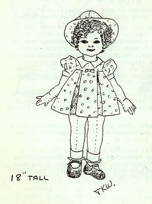 """18""""cloth/soft Sculpture Shirley Temple Doll&dress&hat Pattern"""