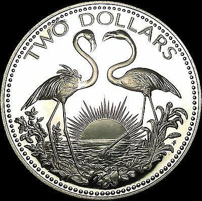 1974 Bahamas Two Dollars Proof .925 Sterling Silver Coin With COA (no box)