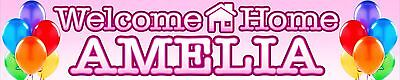 2 X Welcome Home Personalised Banners Pink