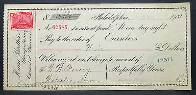 US Check Hance Brothers & White Merchants National Bank Philadelphia (H-7012+