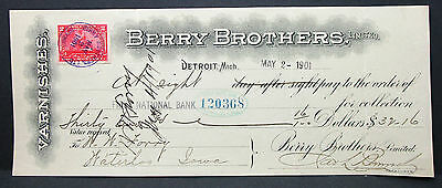 US Check First National Bank Berry Brothers Detroit Documentary Stamp (H-7033+