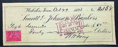 US Check Leavitt & Johnson Bankers Waterloo Paid Documentary Stamp 1898 (H-7035+