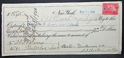 US Check Importers & Traders National Bank NY Documentary Stamp 2c 1900 (H-7017+