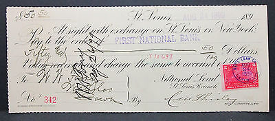 US Check First National Bank St. Louis Lead Documentary Stamp 2c 1899 (H-7019+
