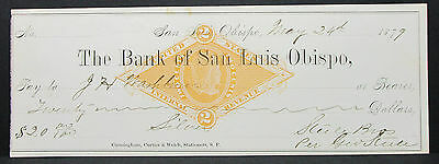 US Check The Bank of San Luis Obispo Internal Revenue Stamp 2c 1879 (H-7049+