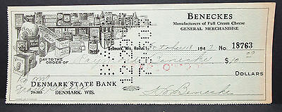 US Check Denmark State Bank Beneckes Cheese Illustrated Paid Stamp 1947 (H-7056+