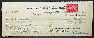 US Check The First National Bank Armstrong Cork Company Chicago 1898 (H-7015+