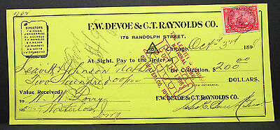 US Check Leavitt & Johnson National Bank Raynolds Paid Documentary Stamp H-7028+