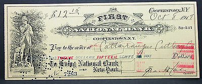 US Check Leatherstocking First National Bank Cooperstown Paid Stamp 1917 H-7003+