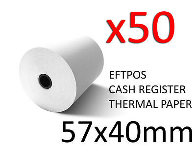50X HIGH QUALITY THERMAL PAPER EFTPOS CASH REGISTER RECEIPT ROLLS 57MM x 40MM