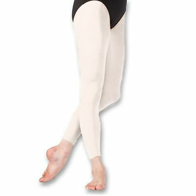 Capezio 140C Girl's Size Medium White Hold and Stretch Footless Tights