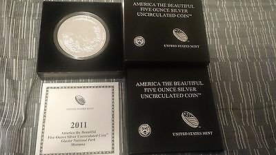 2011 America The Beautiful 5 oz Silver Coin Glacier National Park Montana Comple