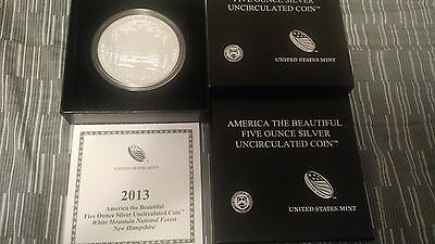 2013 America The Beautiful 5 oz Silver Coin White Mountain National Forest Compl