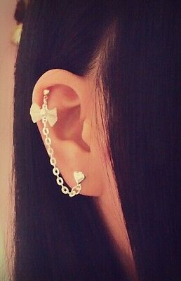 Mesh Bow Ribbon Cartilage Chain Helix Cuff Earring Silver Heart Stud