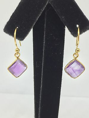 Gold Plated Sterling Silver 92.5 Amethyst Gemstone Drop Earrings ***NEW***