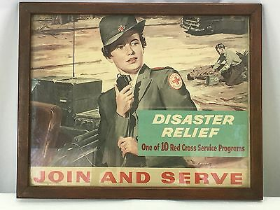 Original 1942 Red Cross Disaster Relief Recruiting Framed Poster