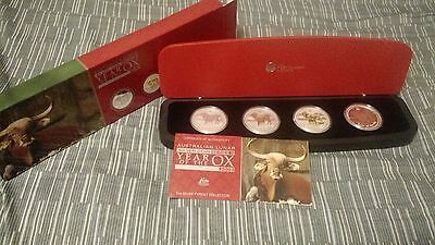 2009 Australia Year of the Ox Lunar 1oz Silver Typeset 4 Coin Collection