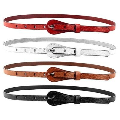 Women Fashional Thin Leather Narrow Skinny Wide Waist Belt Waistband Buckle GQ