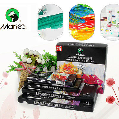 Marie's Gouache Paint Artist Set 12,18,36 Color Painting Draw Craft Art 5ML/12ML