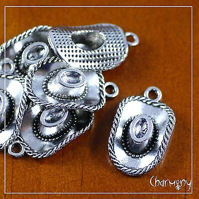 Cowboy Hat charm ~PACK of 6~ cowgirl old wild west rodeo antique silver 3D