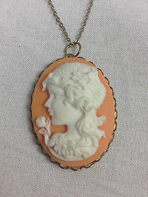 Vintage Peach Colored Cameo Necklace