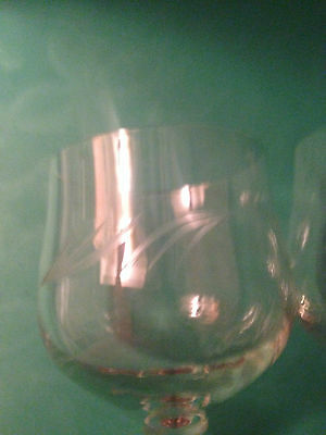 Vintage Etched Wine Glasses Set of Two