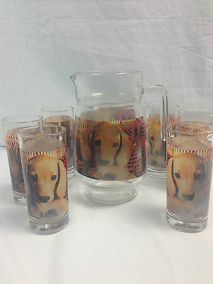 Water Pitcher and Glass Set with Puppy Dogs Vintage