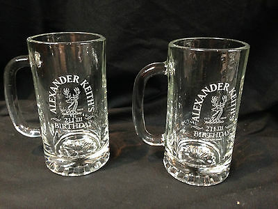 Alexander Keith's 211th Birthday Crystal Clear Beer Steins Set of Two