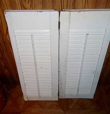 2 Antique Primitive Indoor 4 Panel Hinged White Painted Old Window Shutters #8