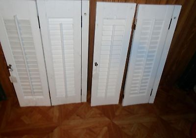 2 ANTIQUE VINTAGE INTERIOR 4 PANELS  LOUVERED WINDOW SHUTTER'S HARDWARE 15 x 24