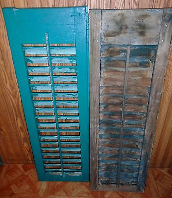 2 Antique Primitive Wood Country Indoor Window Green Louver Shutters #3