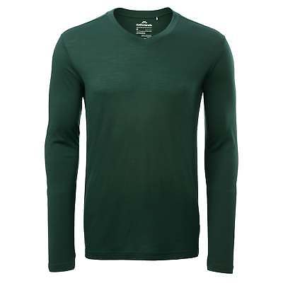 Kathmandu Divide Mens Merino Regular Fit Long Sleeve V Neck Thermal Top Green
