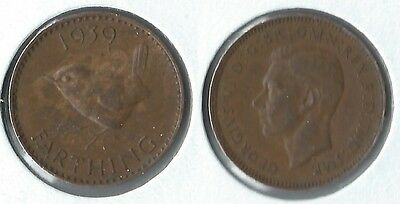 1939 Great Britain 1 farthing coin